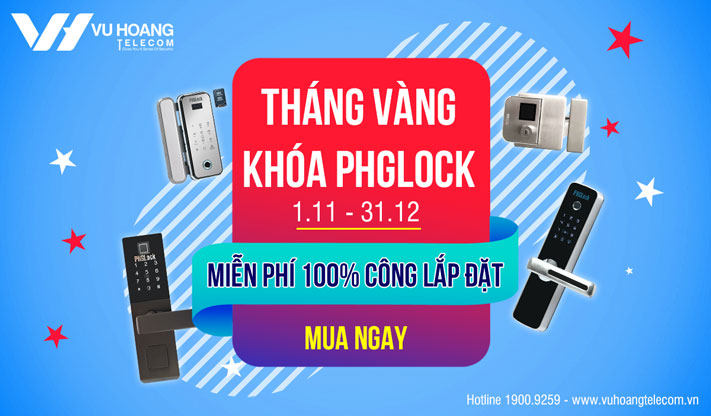 Ưu đãi miễn phí 100% công lắp đặt khóa PHGLock tháng 11