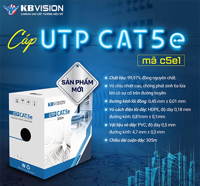 Bán dây cáp mạng UTP CAT5E KBVISION C5E1 vỏ màu trắng giá rẻ