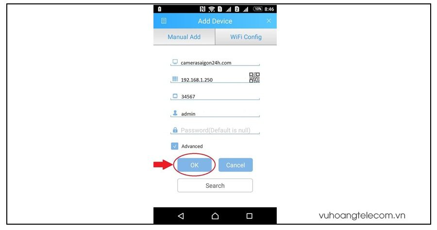 huong dan cai dat xem camera Vantech tren Android