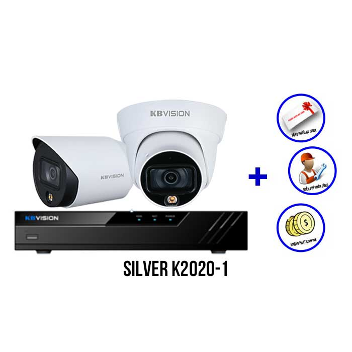 Trọn bộ 2 camera Full Color KBVISION SILVER K2020-1