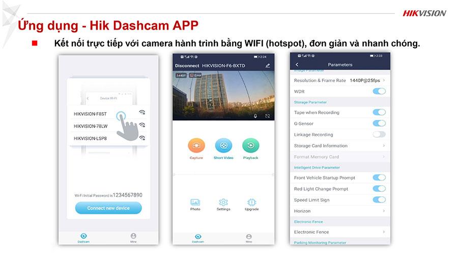 Kết nối trực tiếp với camera hành trình bằng WIFI