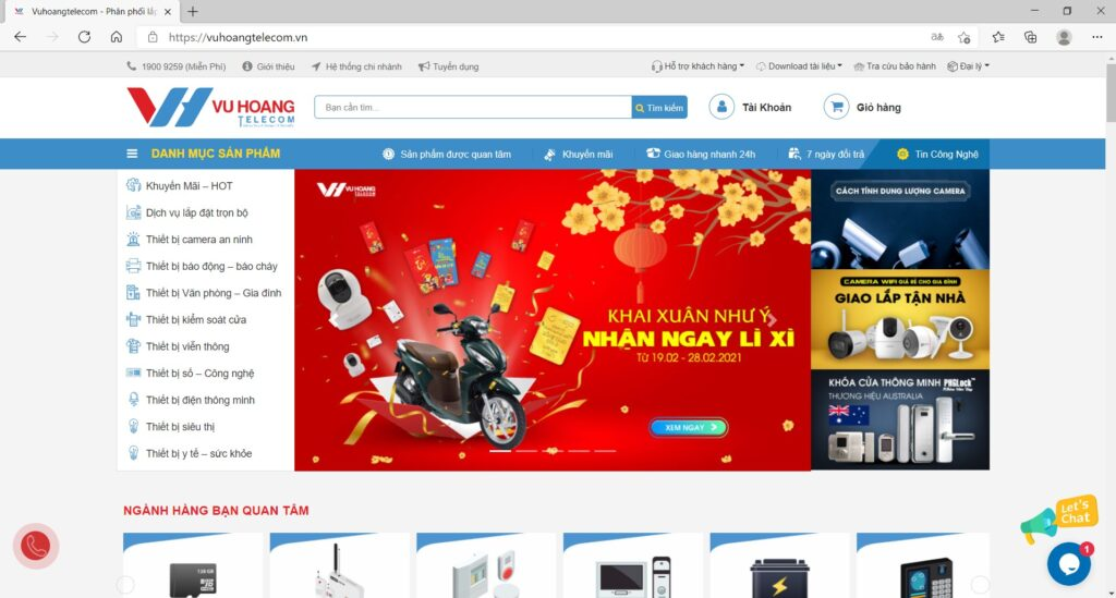 Website chính thức có tên miền www.vuhoangtelecom.vn