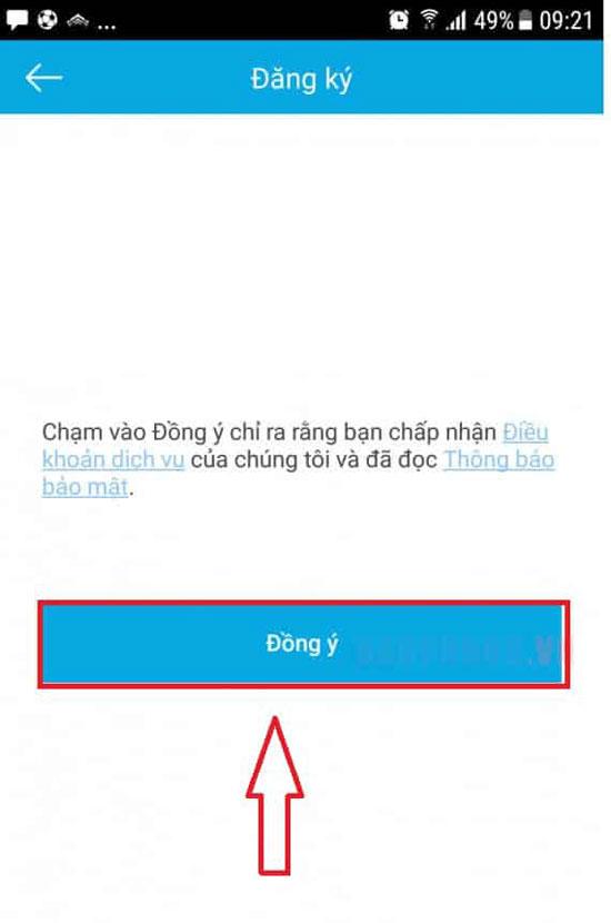 Chọn đăng ký tài khoản cài đặt HiLook trên điện thoại
