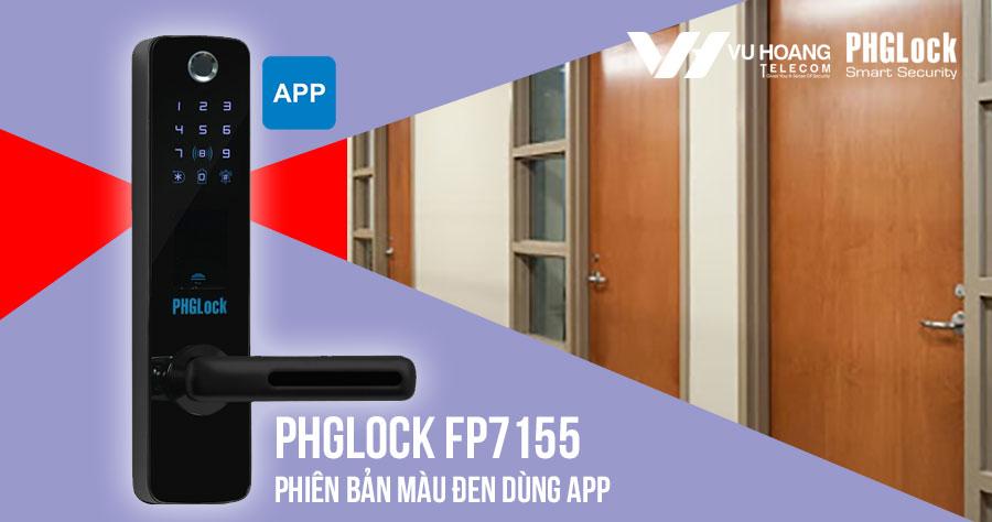 Bán khóa cửa vân tay cho văn phòng PHGLOCK FP7155 (Đen-App) giá rẻ