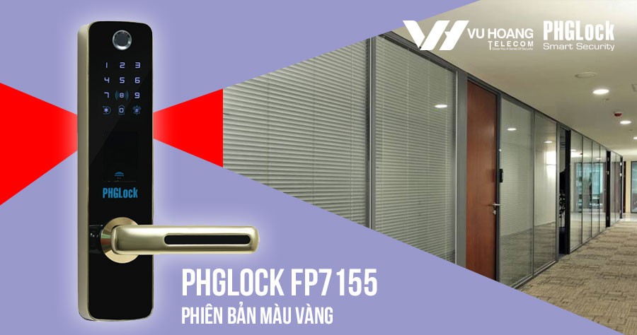 Bán khóa cửa vân tay cho văn phòng PHGLOCK FP7155 (Vàng) giá rẻ