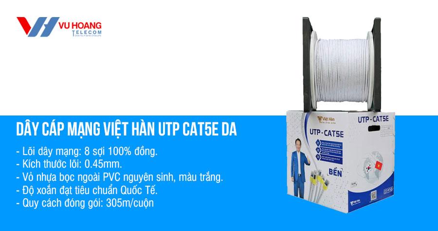 Bán cáp mạng Việt Hàn UTP CAT5E DA 0.45mm màu trắng giá rẻ
