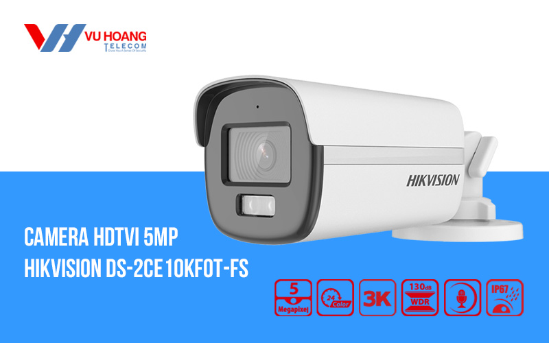 Camera HDTVI có màu ban đêm 5MP HIKVISION DS-2CE10KF0T-FS