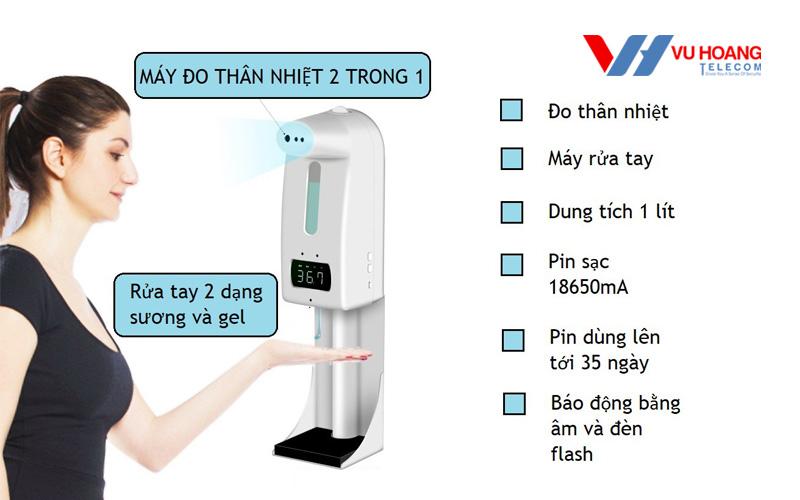 Máy đo thân nhiệt, xịt khuẩn tự động 2 trong 1 V18 Pro/ K10 Pro