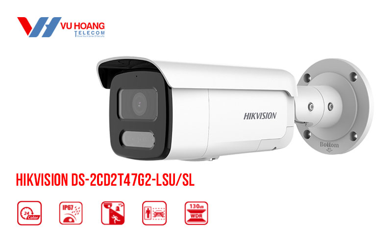 Bán camera IP Colorvu 4MP HIKVISION DS-2CD2T47G2-LSU/SL giá rẻ