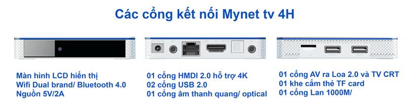 MYNET TV 4H trang bị đầy đủ các cổng kết nối cần thiết