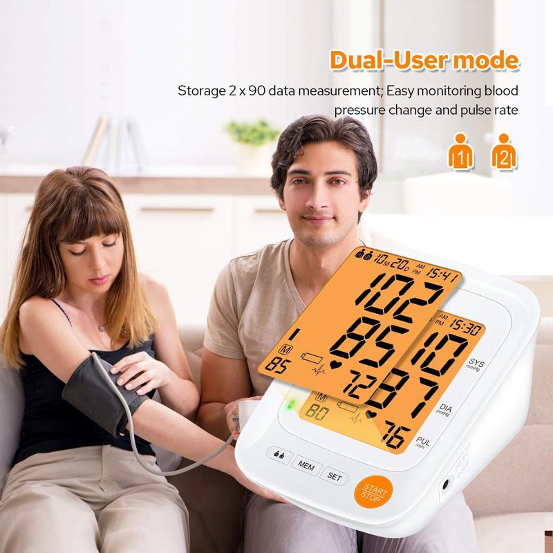 Màn hình hiển thị kết quả và cảnh báo màu sắc theo mức độ của huyết áp.