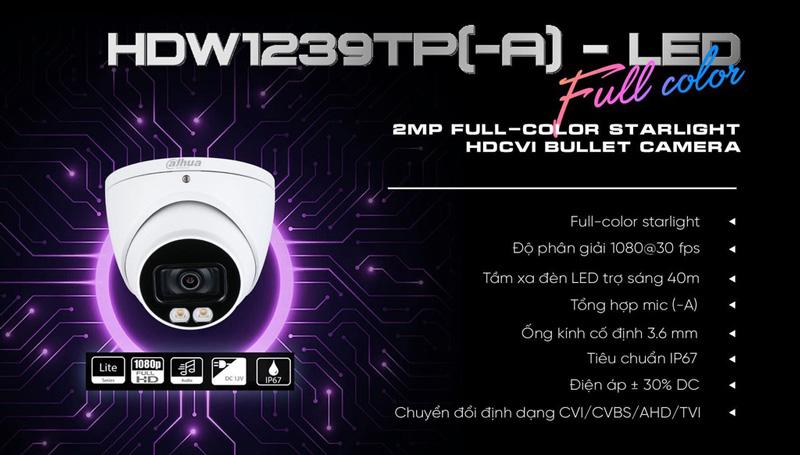Bán camera HDCVI 2MP DAHUA DH-HAC-HDW1239TP-A-LED-S2 giá rẻ