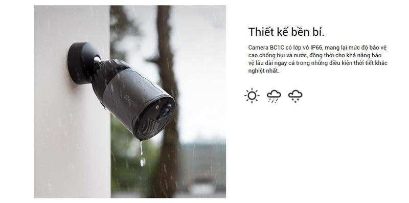 Camera BC1C có lớp vỏ IP66, mang lại mức độ bảo vệ cao chống bụi và nước